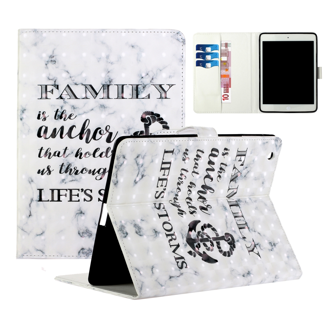 iPad 2 Case Fits iPad 2,3,4, With A Artsy Leather Design with Sleeve & Auto Sleep (Marble Anchor)