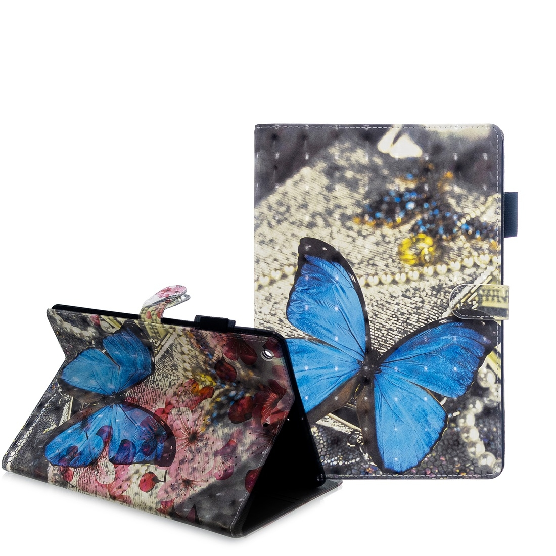 iPad 7th Generation Case (10.2 Inch) 3D Embossing Leather Case & Slim Profile (Flower Butterfly)