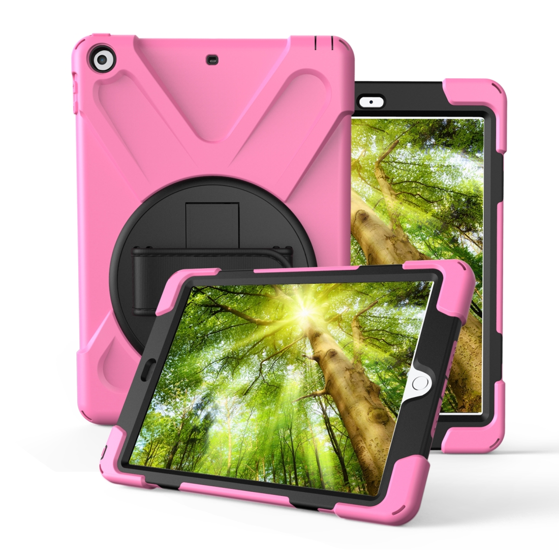 iPad 7th Generation Case (10.2 Inch) With A Protective Rotatable Design And Hand Strap (Pink)