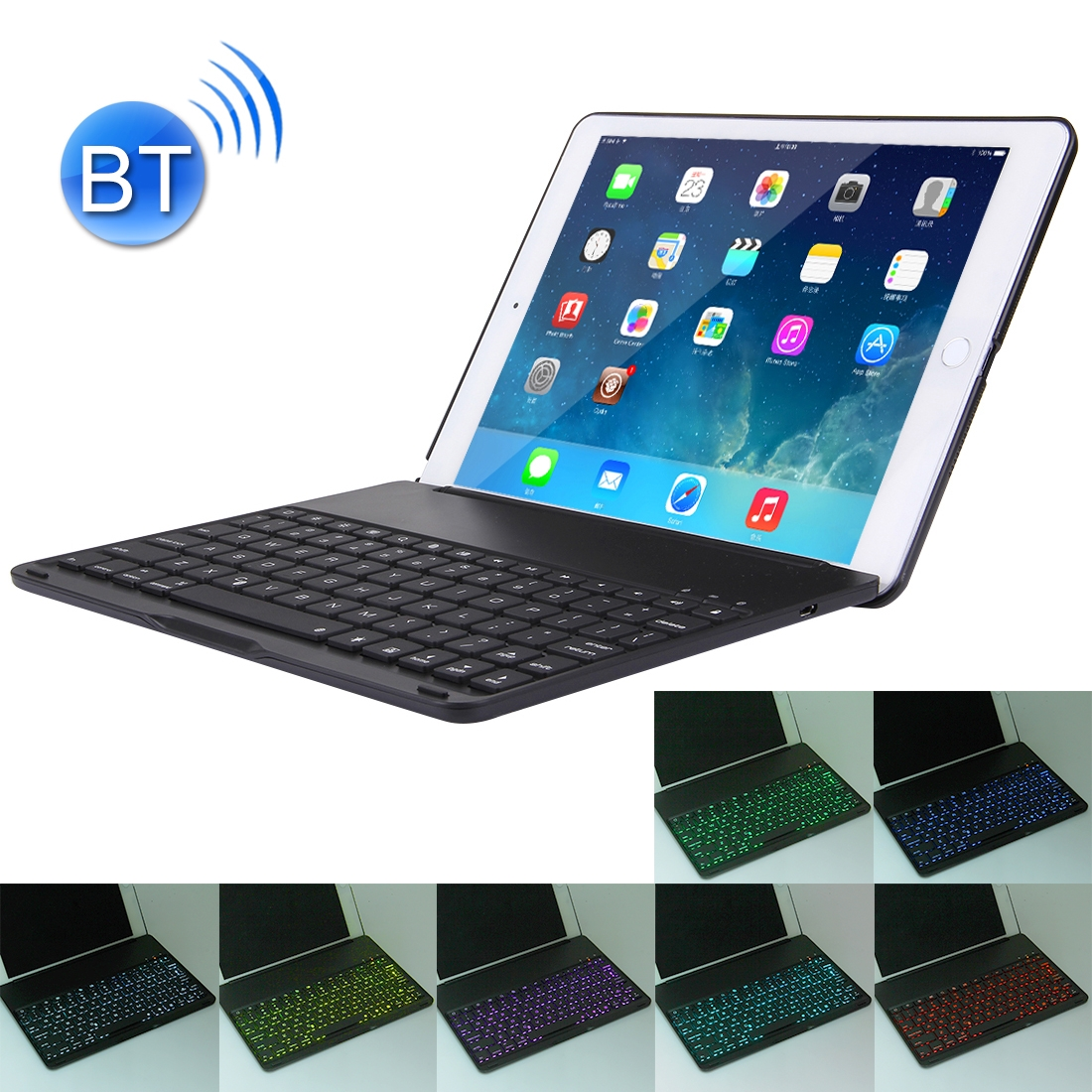 iPad Air 2 Case With Keyboard For iPad Air 2, Protective Case With Backlit Bluetooth (Black)