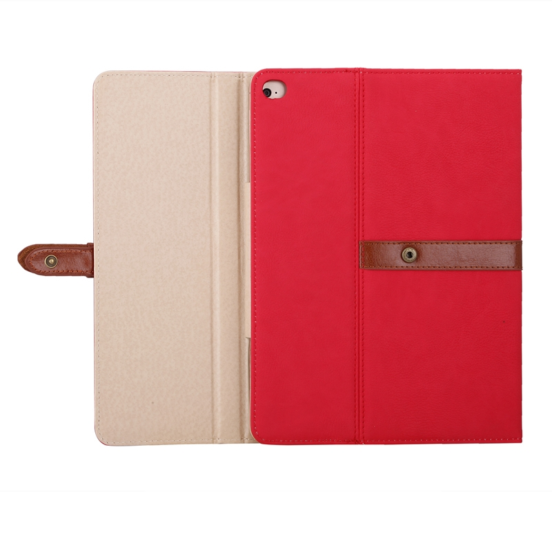 Business Style Leather iPad Air Case 1/2, iPad 5/6, With Tri-Fold Holder & Buckle (Red)