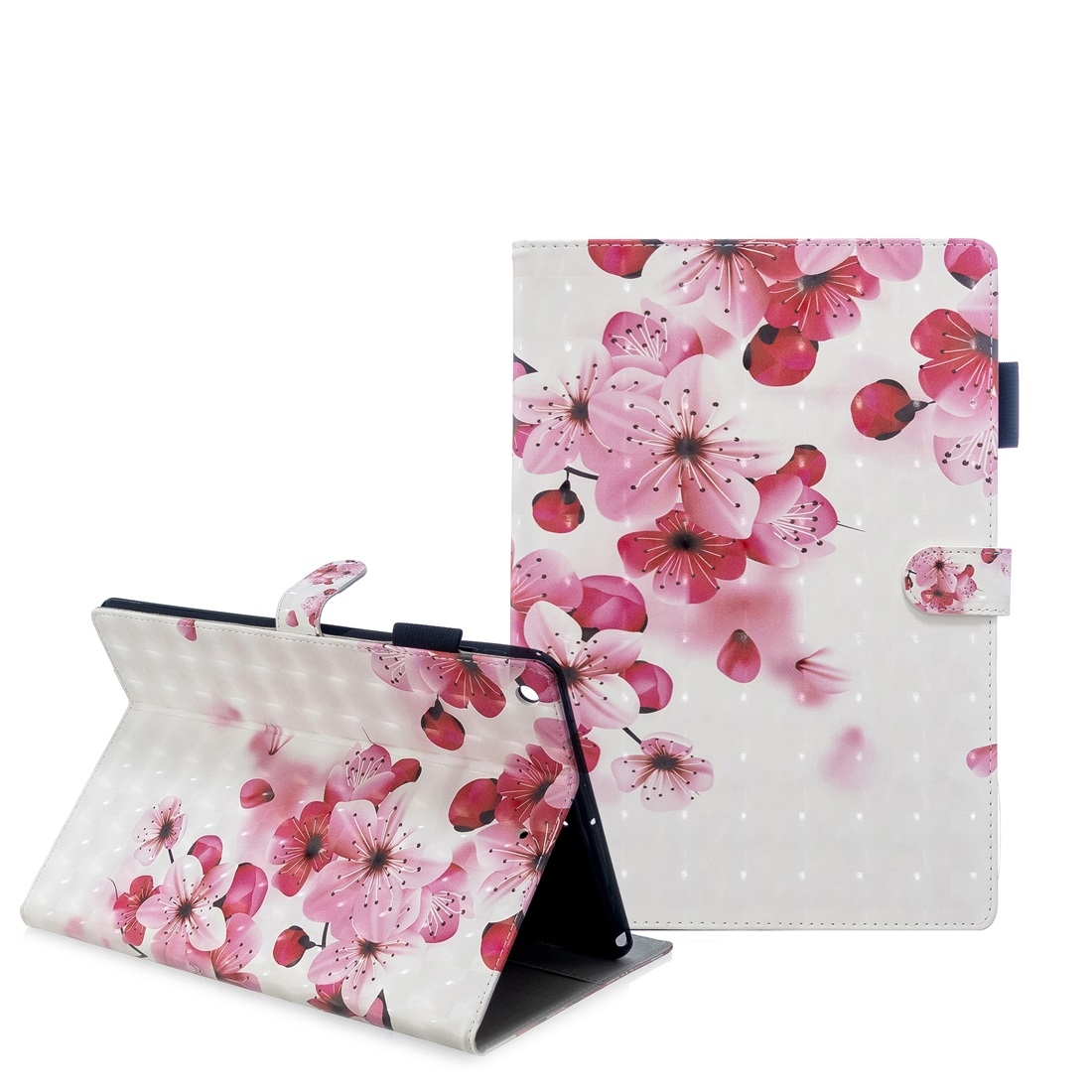 iPad 7th Generation Case (10.2 Inch) 3D Embossing Leather Case & Slim Profile (Red Flower)