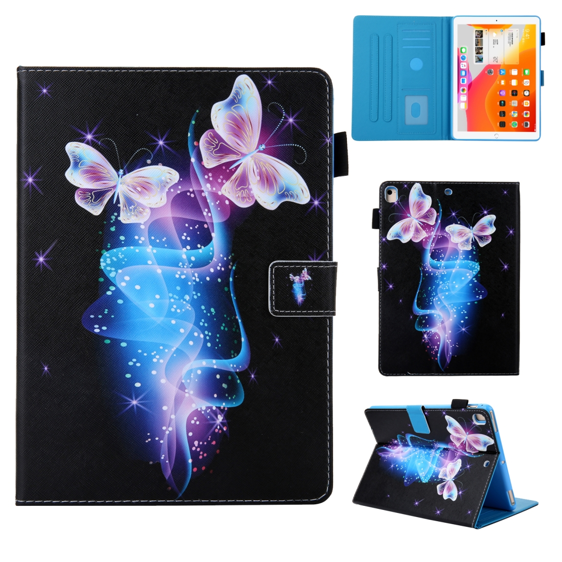 iPad 10.5 Case Colorful Design Leather Case with Sleeve (Butterfly)