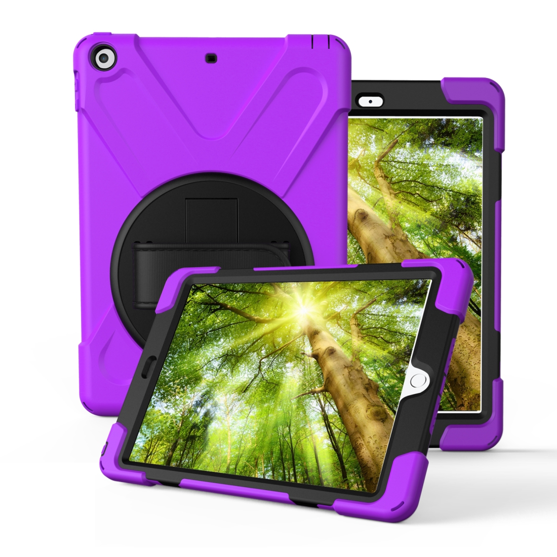 iPad 7th Generation Case (10.2 Inch) With A Protective Rotatable Design And Hand Strap (Purple)