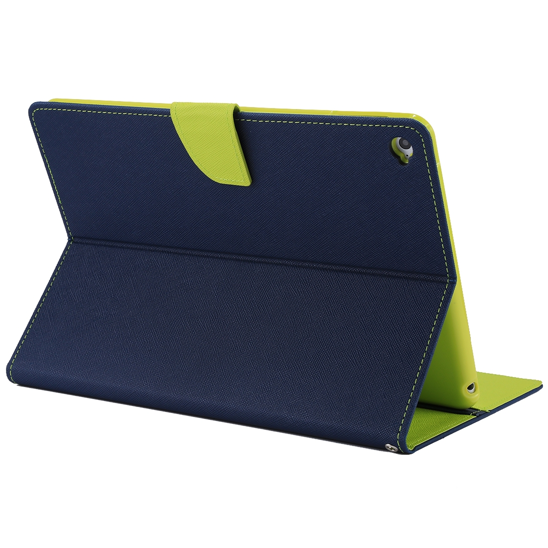 iPad Air 2 Case Cross Texture Leather Case with Holder & Slim Profile (Navy Blue)