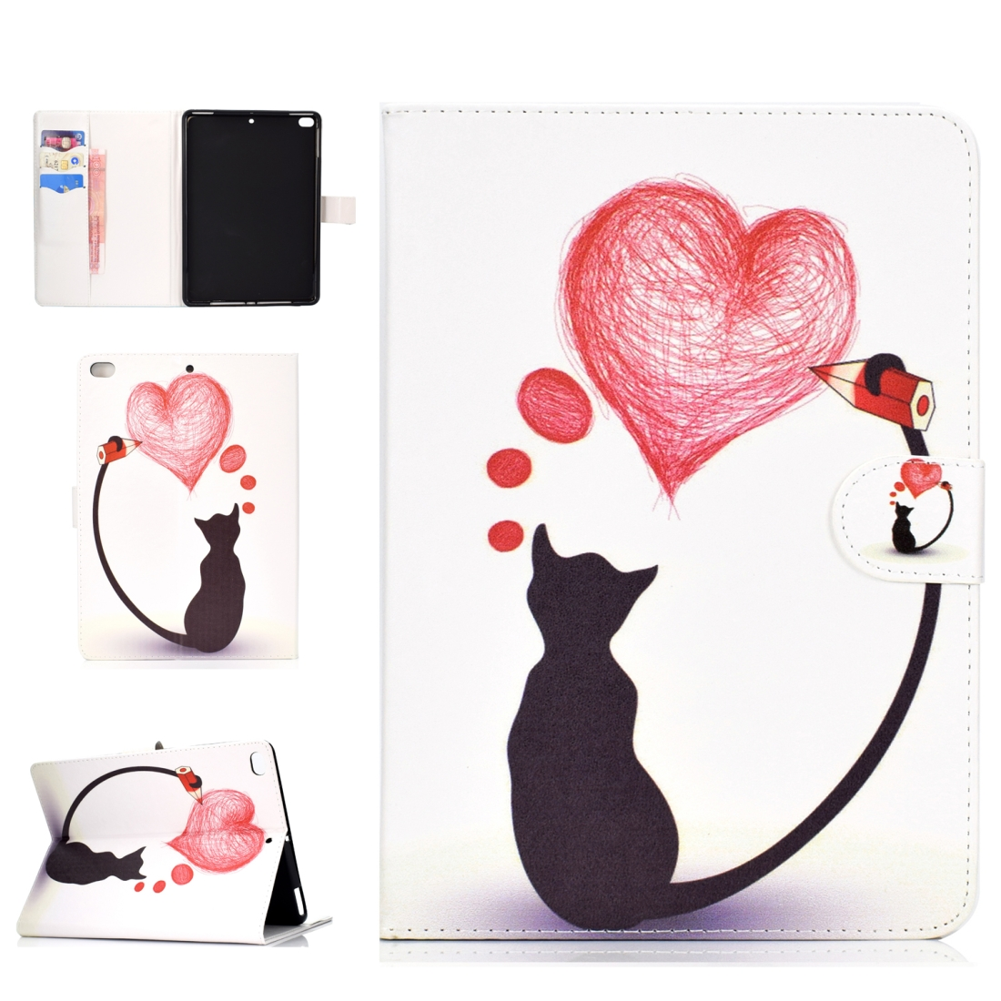 iPad 5th Generation Case Fits iPad 5,6,8, Stylish Leather Design & Auto Sleep Function (Love Cats)