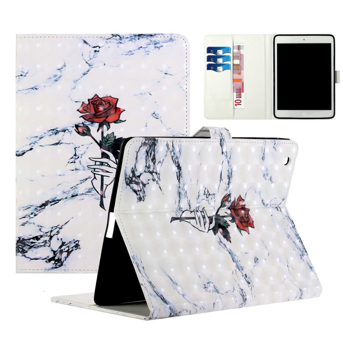 iPad 2 Case Fits iPad 2,3,4, With A Artsy Leather Design with Sleeve & Auto Sleep (Marble Rose)