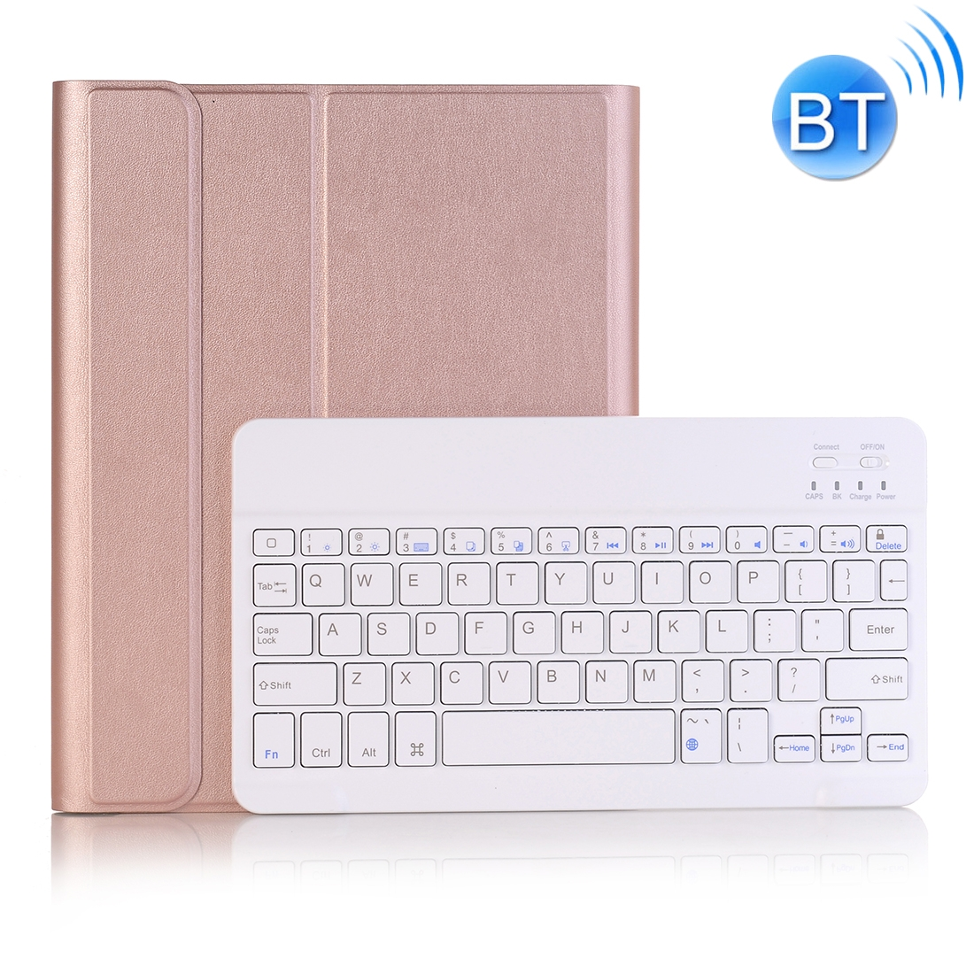 iPad Case With Keyboard & Bluetooth For iPad 10.2 Inch, Leather Case & Backlit Keyboard (Rose Gold)