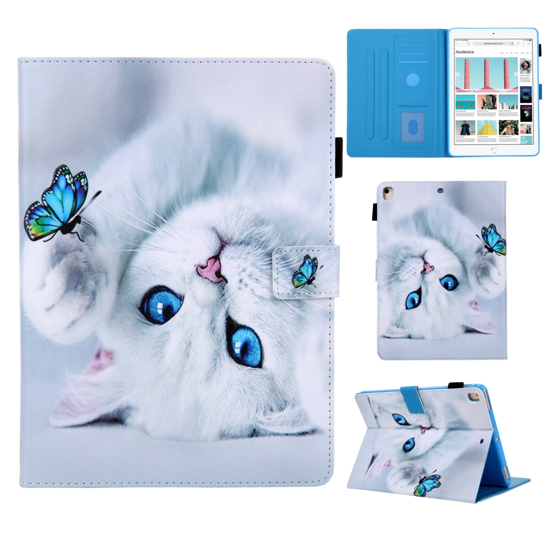 iPad 7th Generation Case (10.2 Inch) 3D Leather Case with Sleeve  (Cat)