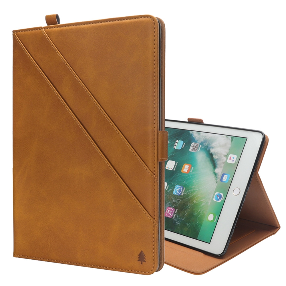 Bi-Stand Leather iPad Pro 12.9 Inch Case (2017)/ (2015) with Sleeves & Pen Holders (Light Brown)
