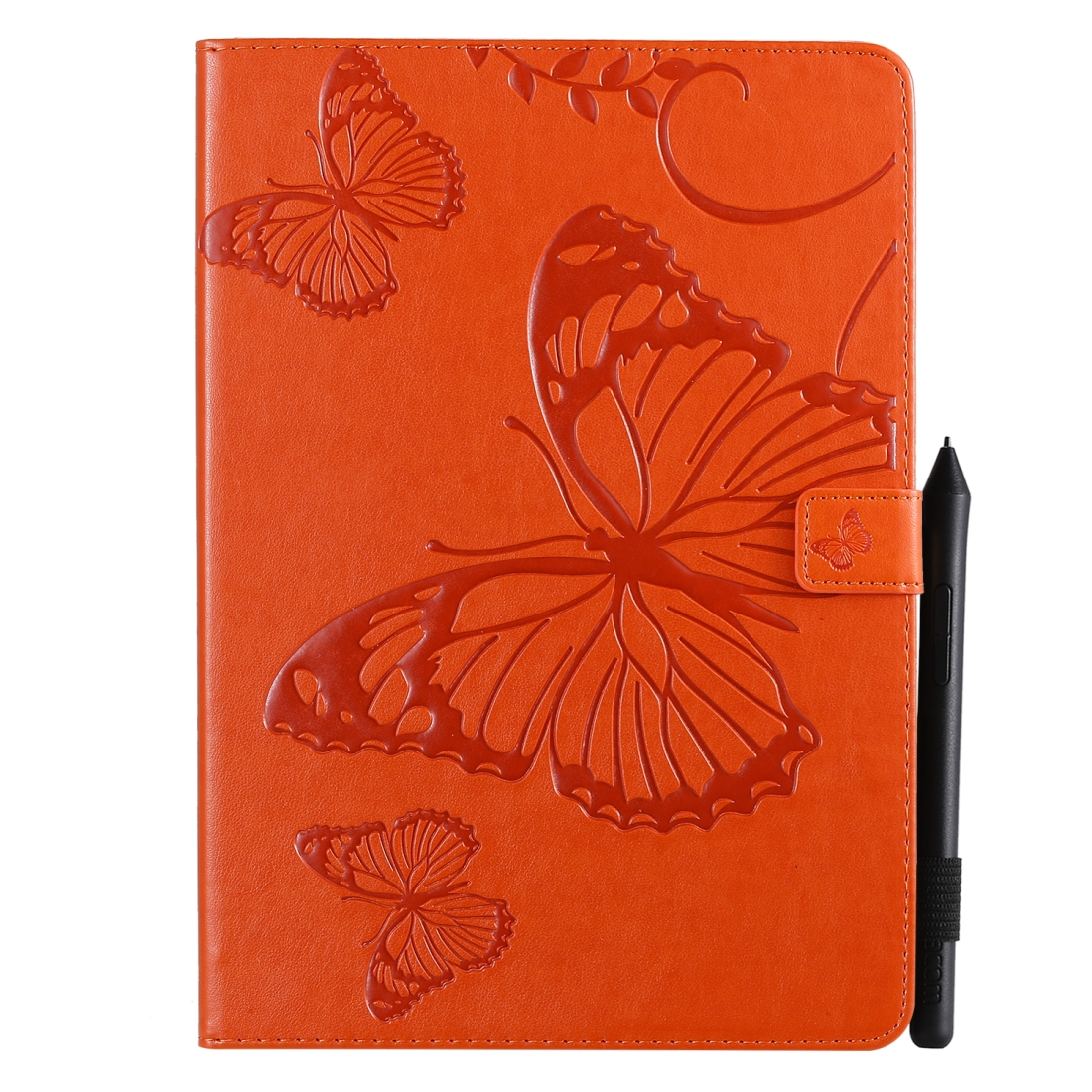 iPad 7th Generation Case (10.2 Inch) Also Fits /Pro 10.5/Air 2019 Leather Butterfly Design (Orange)
