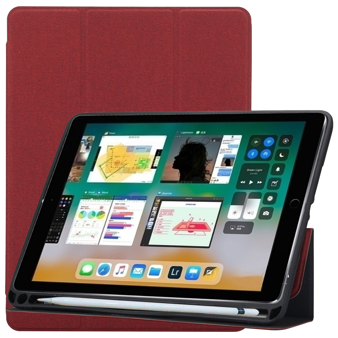 Cloth Texture Leather iPad Air 3 Case (10.5 Inch) ,with Pen Holders (Red)