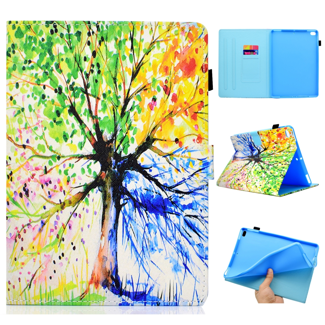 Case For iPad 5/ 6 Artistic Stitching Leather Case, with Sleeves & Auto Sleep function (Tree)