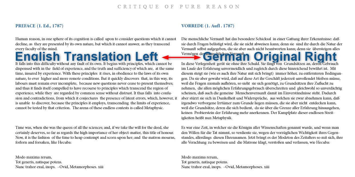 Critique of Pure Reason, by Immanuel Kant / Dual Language