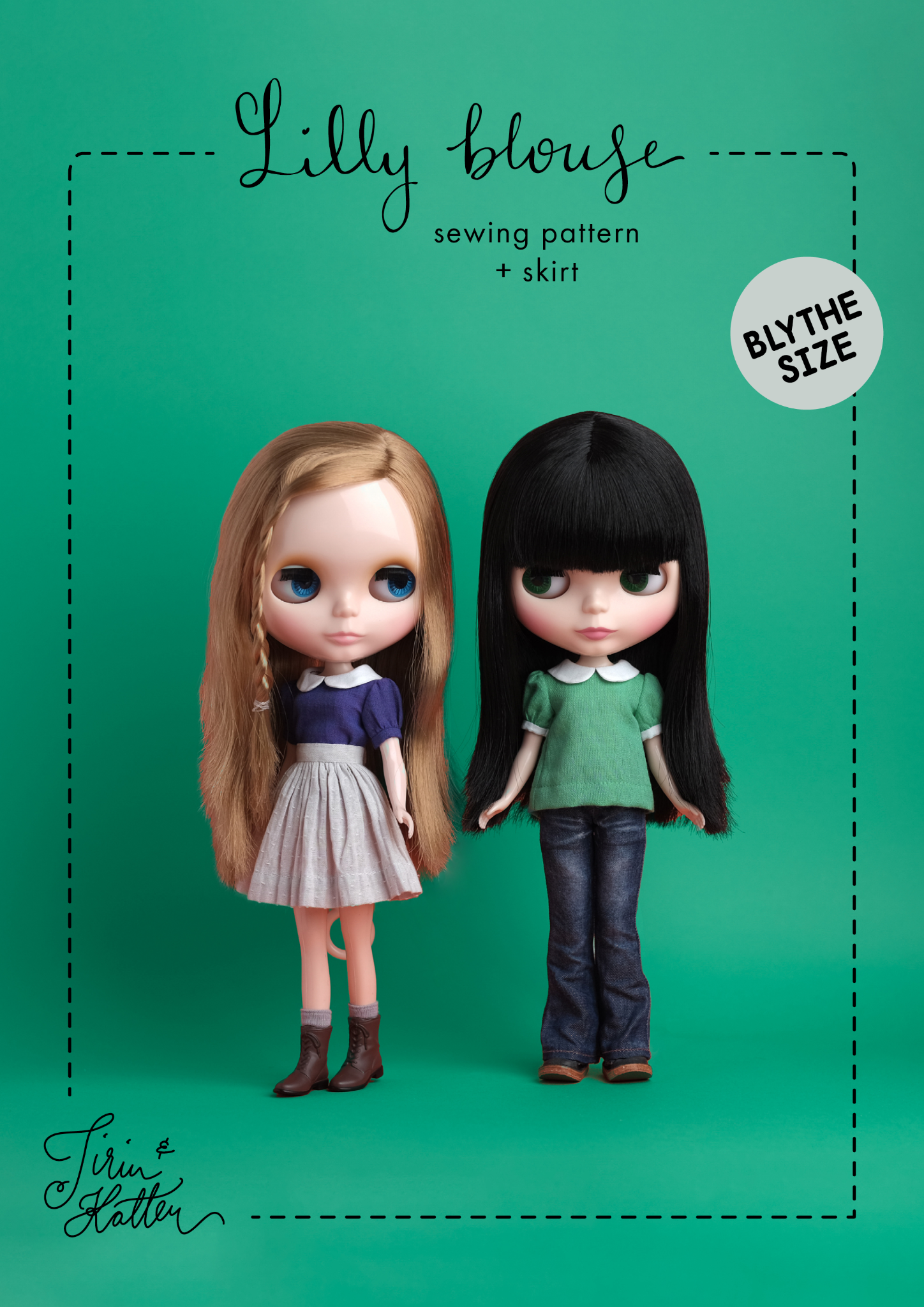 Sewing pattern: Lilly blouse + skirt for Blythe dolls, intermediate level, PDF download
