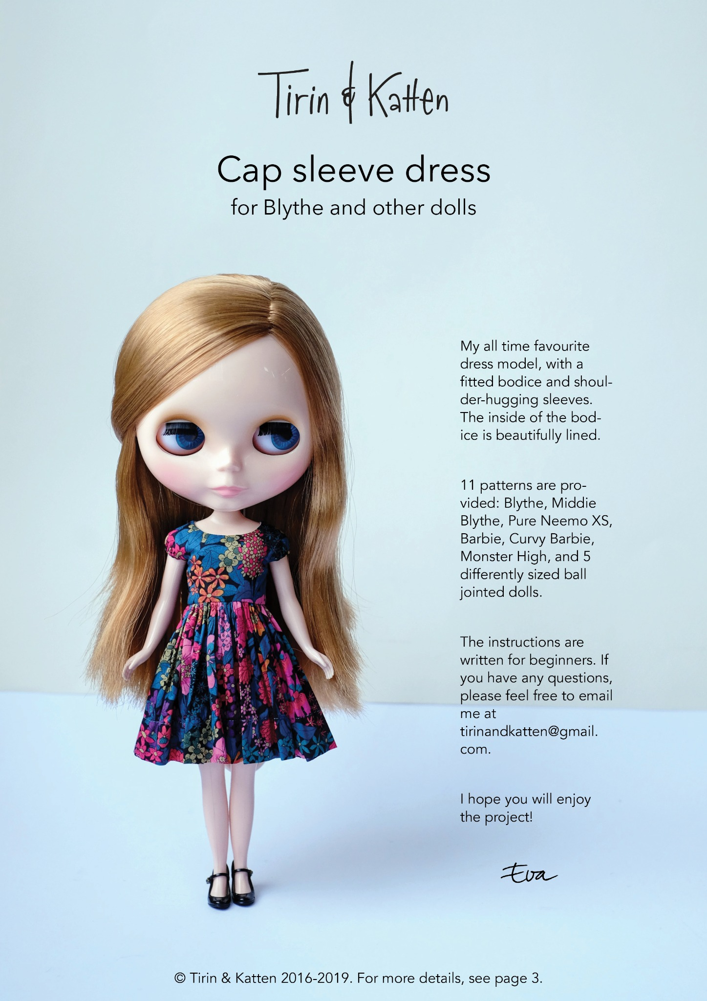Tutorial: Cap sleeve doll dress sewing pattern for Blythe Middie iMda Barbie MH MDD Pure Neemo XS