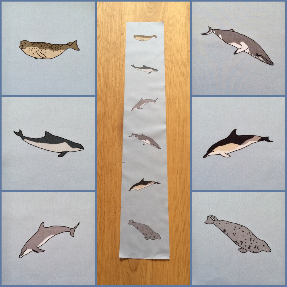 Whale, dolphin and seal fabric strip - organic sateen