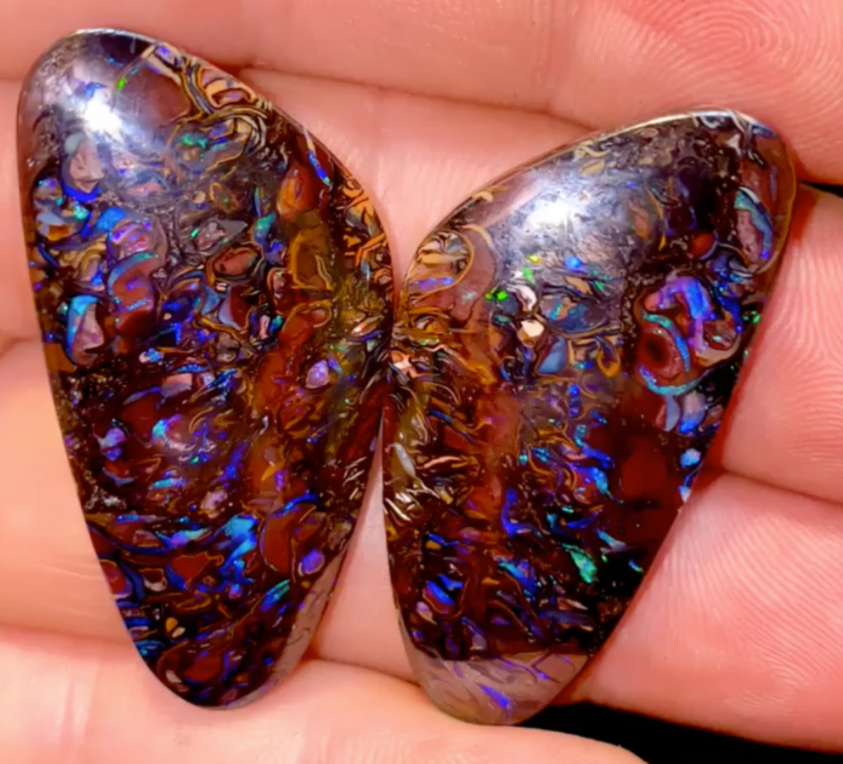 94cts - .3 pair of solid Koroit opals from a boulder matrix formation.