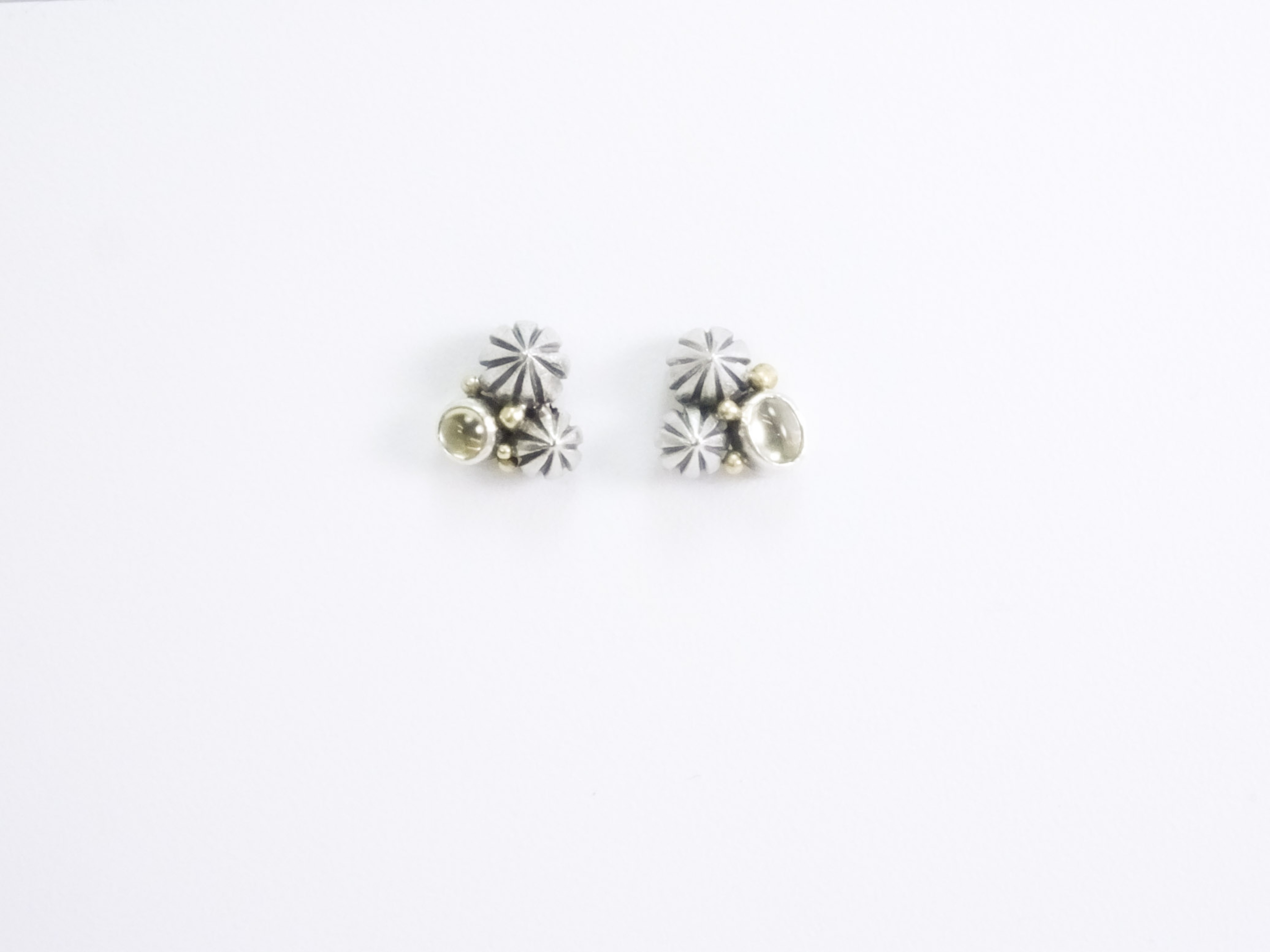 Pod Cluster Studs; yellow sapphires