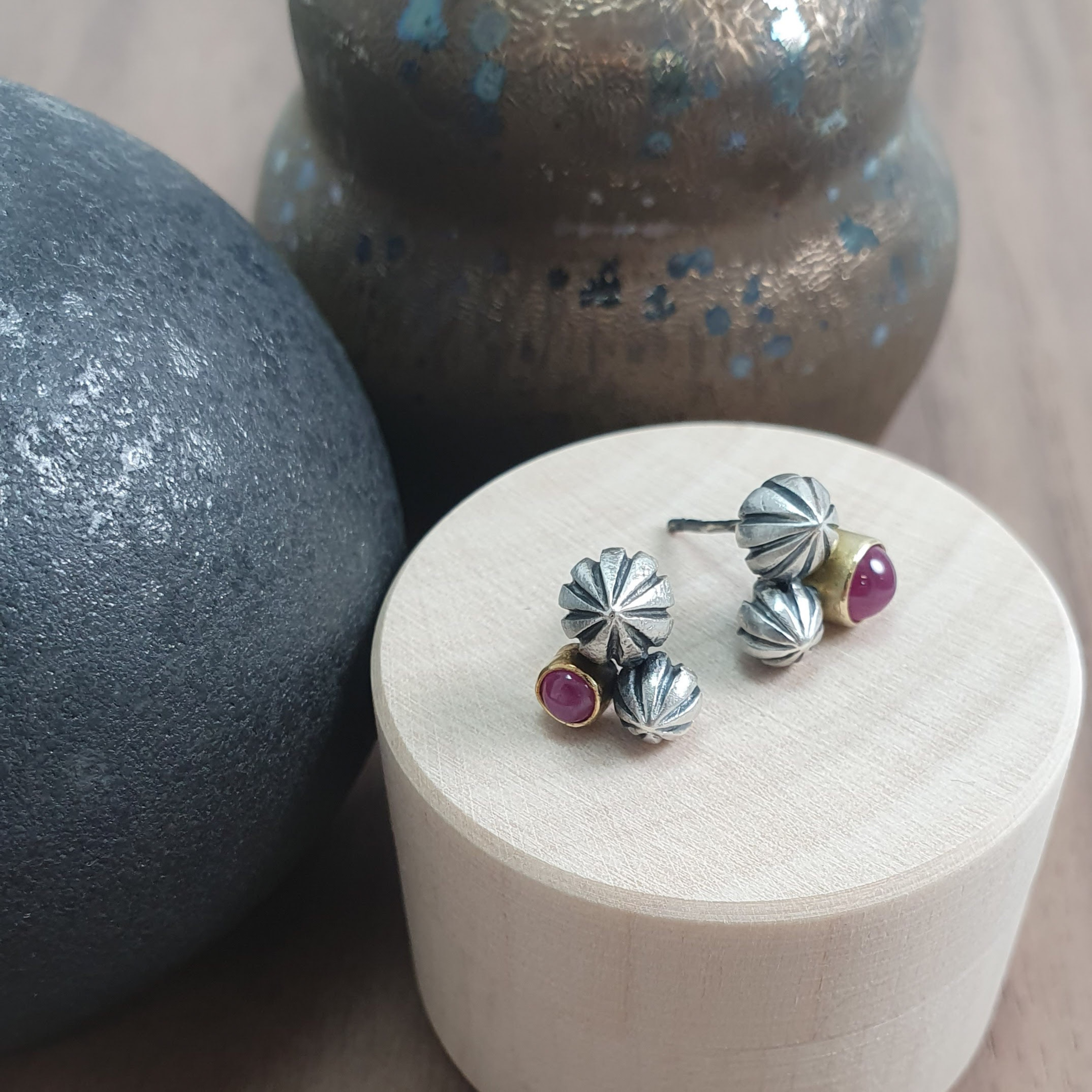 Pod Cluster Studs; red sapphires