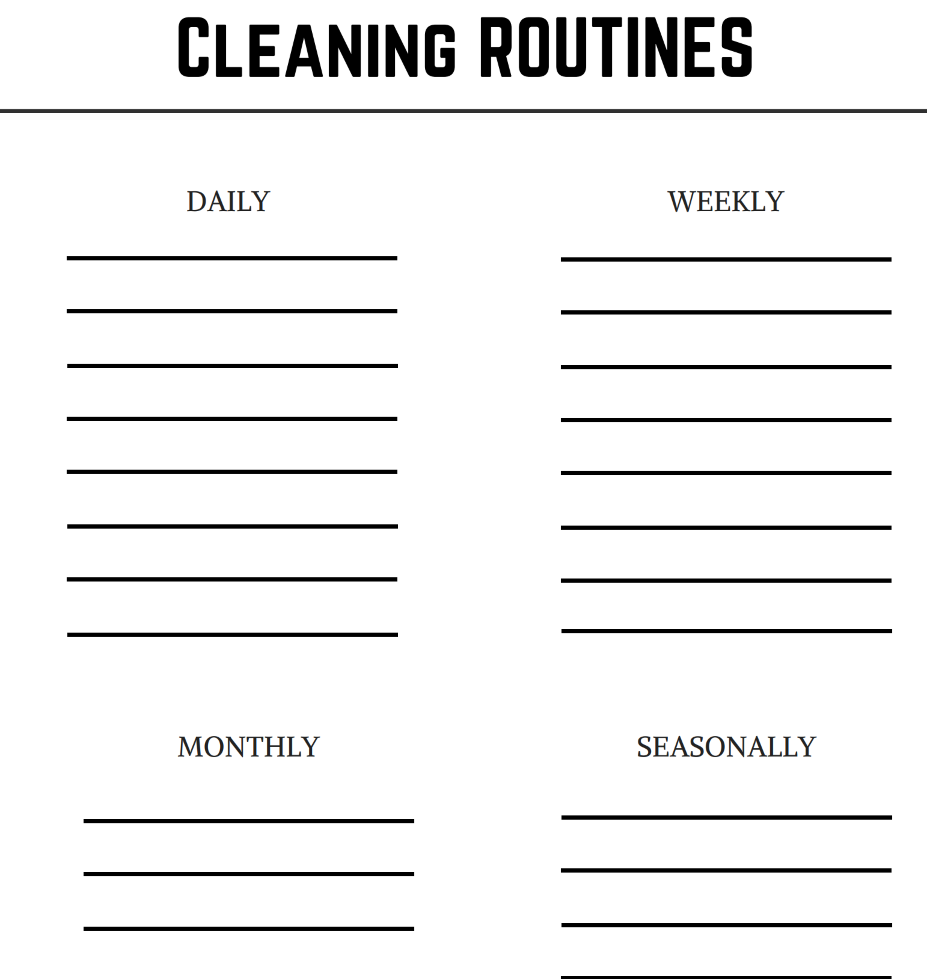 Cleaning Routines Download