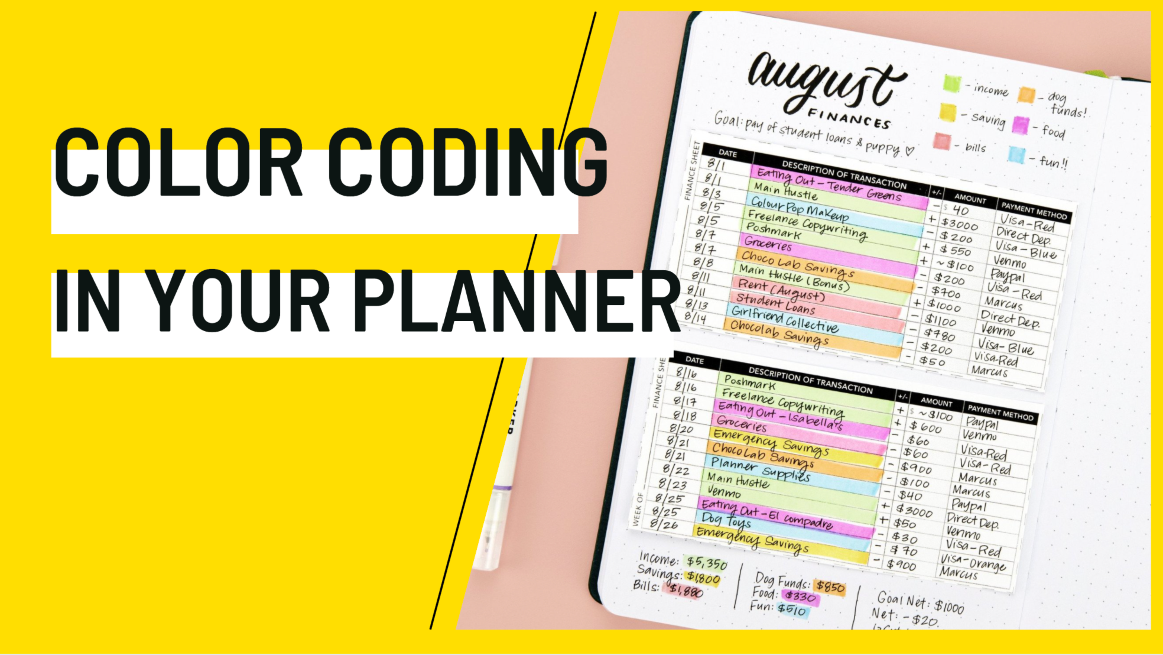 Color-coding in your Planner