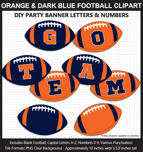 Orange and Dark Blue Football Alphabet Banner Clip Art - Letters, Numbers, Superbowl, Football Party