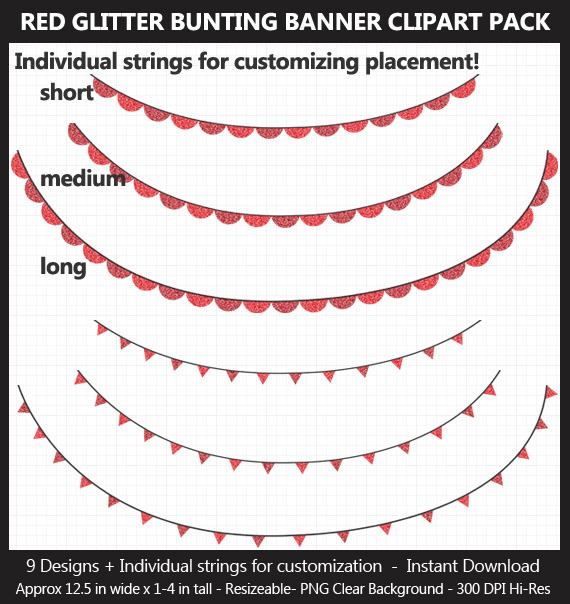 Red Glitter Bunting Banner Clipart Pack - Wedding, Valentine's Day, Birthday, Heart, Stars, Pennant