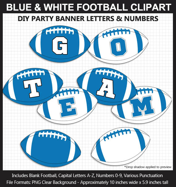 Blue and White Football Alphabet Banner Clip Art - Varsity Letters, Numbers, Superbowl, DIY Party