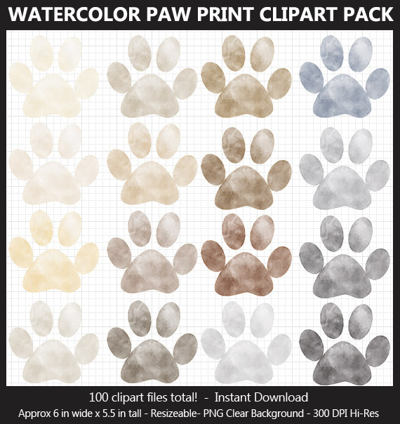 Watercolor Paw Print Clipart - 100 Colors, Dog Paw Print, Cat Paw, Puppy Paw, Printable, Iron On