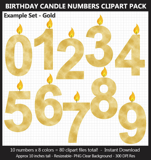 Yellow Watercolor Birthday Candle Numbers Clipart Pack - Birthday Sign, Printable, 10 Inches, Card