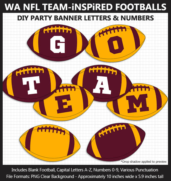 Burgundy and Gold Football Alphabet Banner Clip Art - Varsity Letters, Numbers, Superbowl, Party