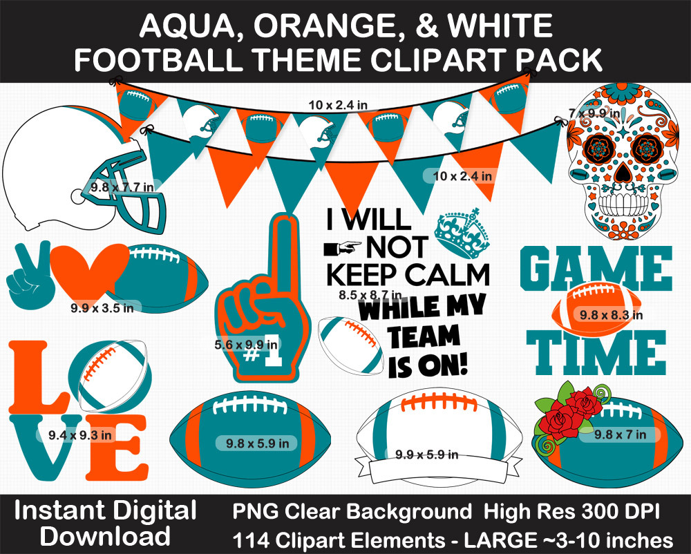 Aqua, Orange, and White Football Theme Clip Art - Helmet, Logo, Label, Pennant Banner, Birthday
