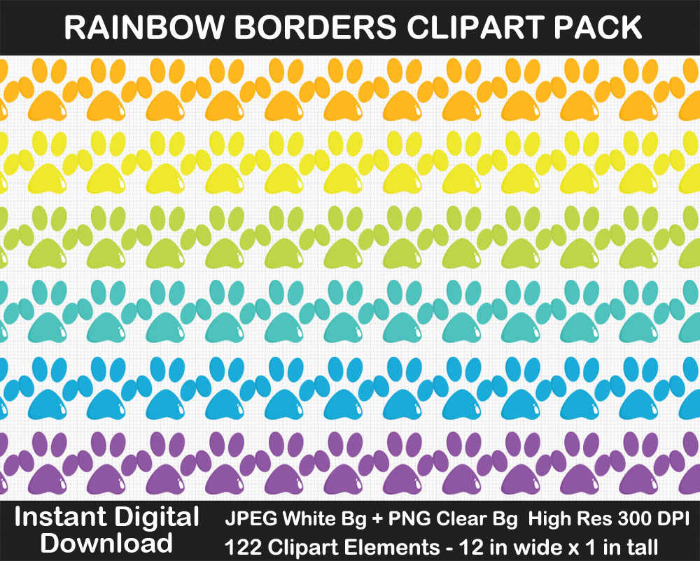 Rainbow Borders Clipart Pack - Printable, Scrapbook Border, Shooting Stars, Heart, Butterflies, Page
