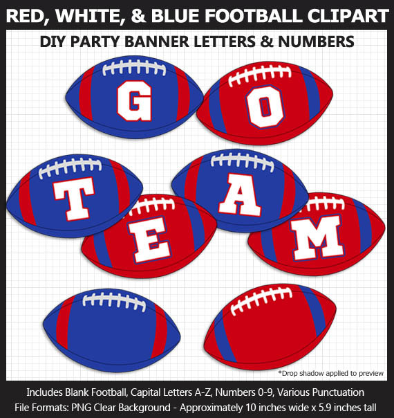 Red, White, and Blue Football Alphabet Banner Clip Art - Letters, Numbers, Superbowl, Party
