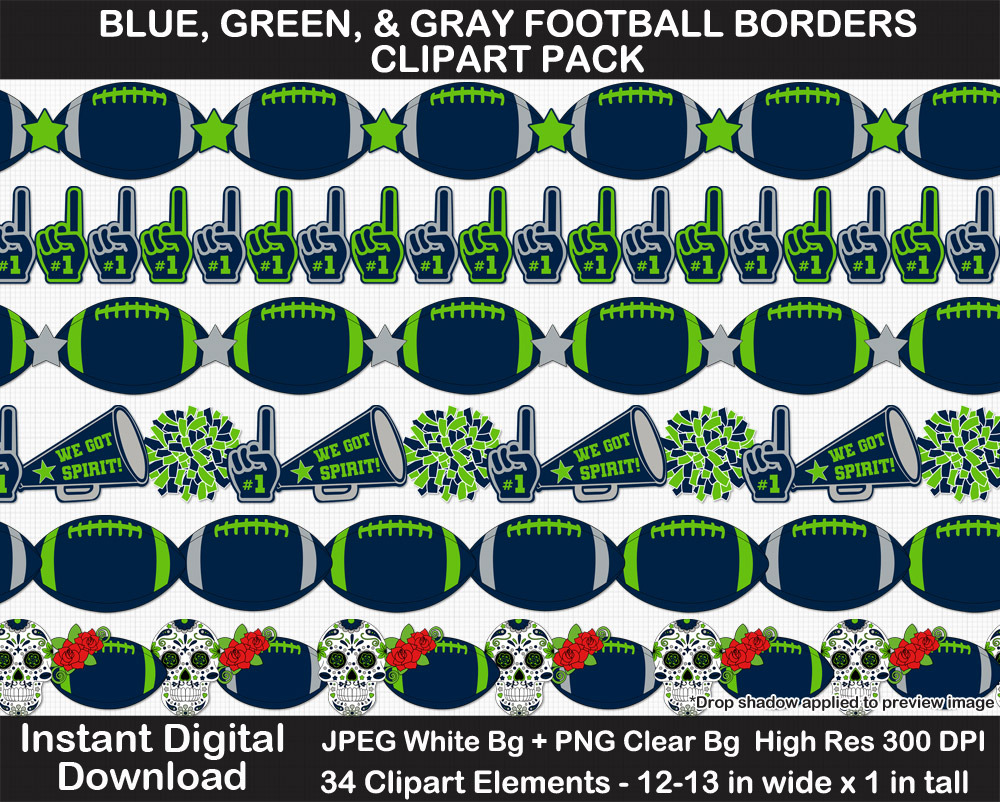 Blue, Green, Gray Football Borders Clipart Pack - Printable, Scrapbook Border, Page Border, Bulletin