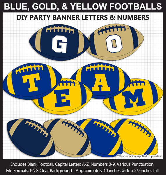 Blue, Gold, Yellow Football Alphabet Banner Clip Art - Varsity Letters, Numbers, Superbowl