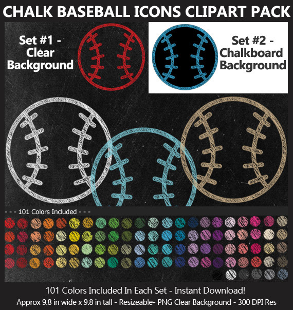 Chalkboard Baseball Icons Clipart Pack - 101 Fun Colors! BONUS Free Chalkboard Digital Papers, Sport
