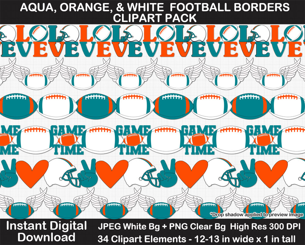 Aqua, Orange, and White Football Borders Clipart Pack - Printable, Scrapbook Border, Page Border