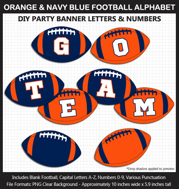 Orange and Navy Blue Football Alphabet Banner Clip Art - Letters, Numbers, Punctuation, Superbowl