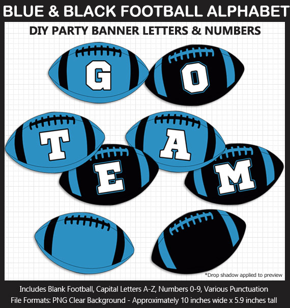 Blue and Black Football Alphabet Banner Clip Art - Varsity Letters, Numbers, Superbowl, Football Bir