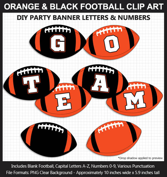 Orange and Black Football Alphabet Banner Clip Art - Varsity Letters, Numbers, Superbowl, Party