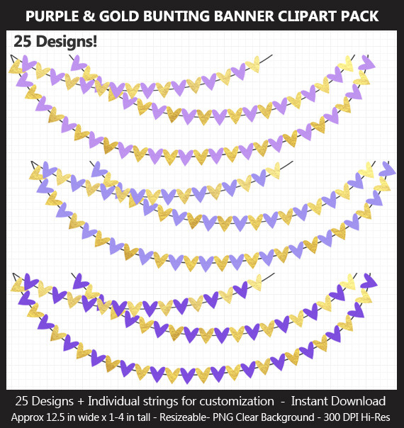 Purple and Gold Bunting Banner Clipart Pack - Wedding, Baby Shower, Birthday, Hearts, Stars, Pennant