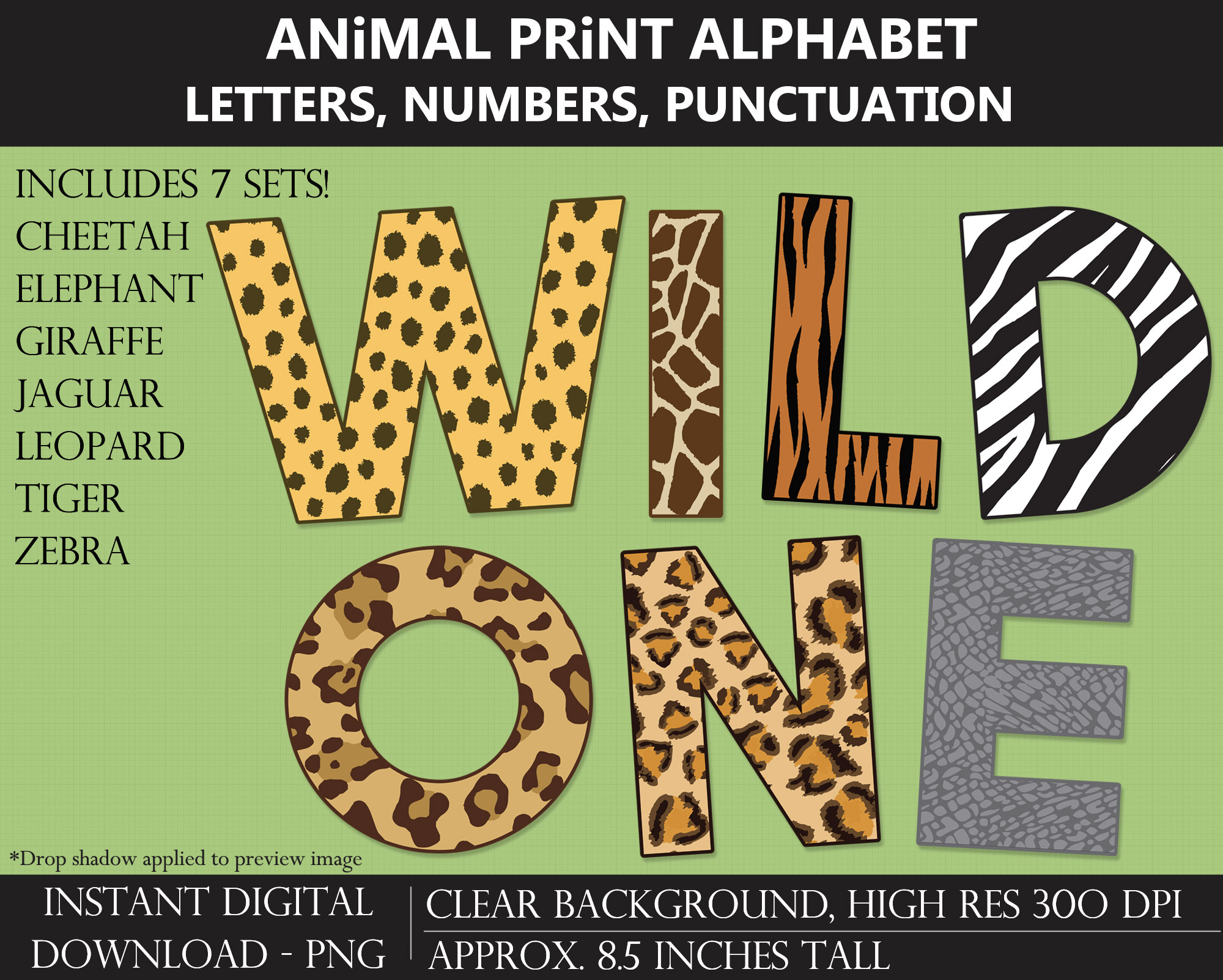 Animal Print Alphabet Clipart - Letters, Numbers, Punctuation, Cheetah Print, Tiger Print, Zebra