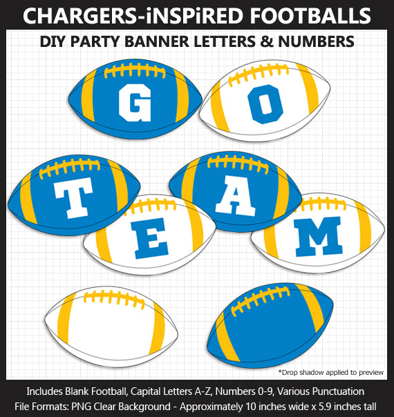 Powder Blue, Gold, and White Football Alphabet Banner Clip Art - Letters, Numbers, Superbowl, Party