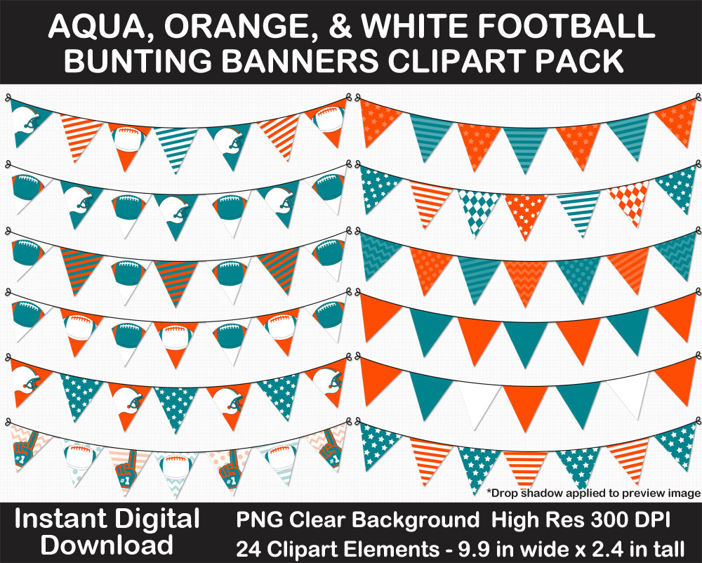 Aqua, Orange, White Football Bunting Banners Clipart Pack - Helmet, Foam Finger, Cheer, Pennant