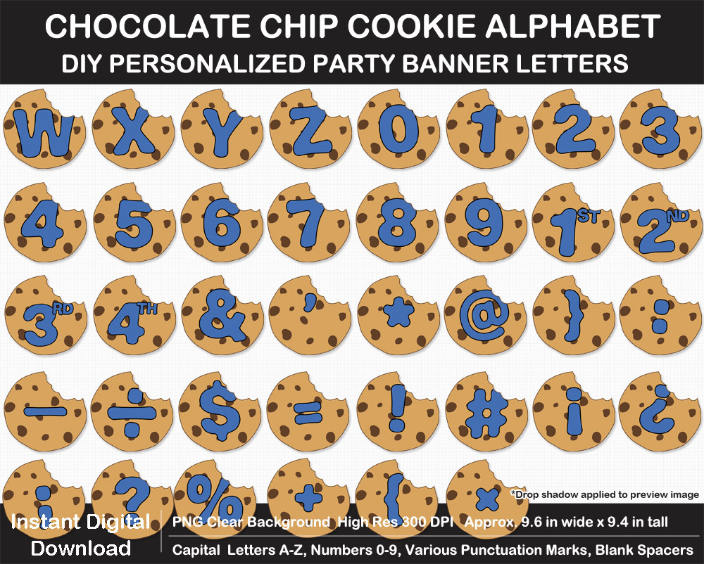 Chocolate Chip Cookie Alphabet Clip Art Letters, Numbers, Birthday Party Banner, Printable, Sign