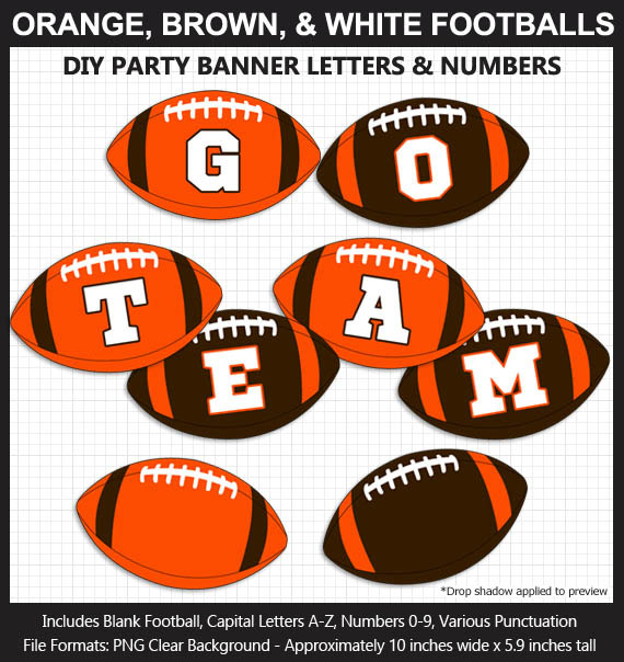 Orange, Brown, and White Football Alphabet Banner Clip Art - Varsity Letters, Numbers, Superbowl