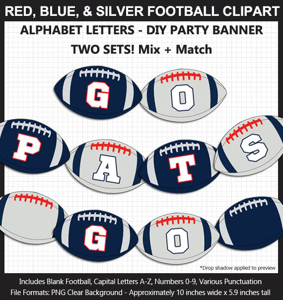 Red, Blue, Silver, and White Football Alphabet Banner Clip Art - Letters, Numbers, Superbowl, Party
