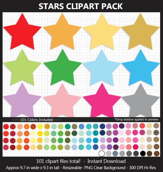 Giant Stars Clipart Pack - 101 Colors, 9 Inches, Printable, Scrapbook, Planner, Bulletin Board